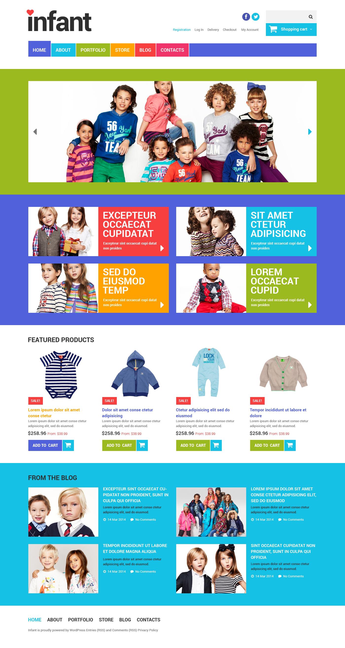 Адаптивный WooCommerce шаблон №48929 на тему новорожденные