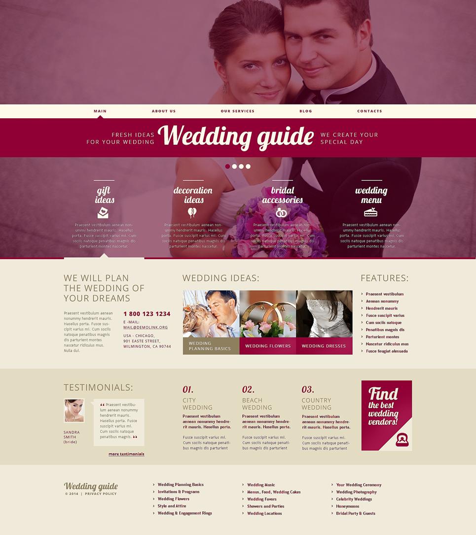 Адаптивный шаблон сайта на тему организация свадьбы #48921