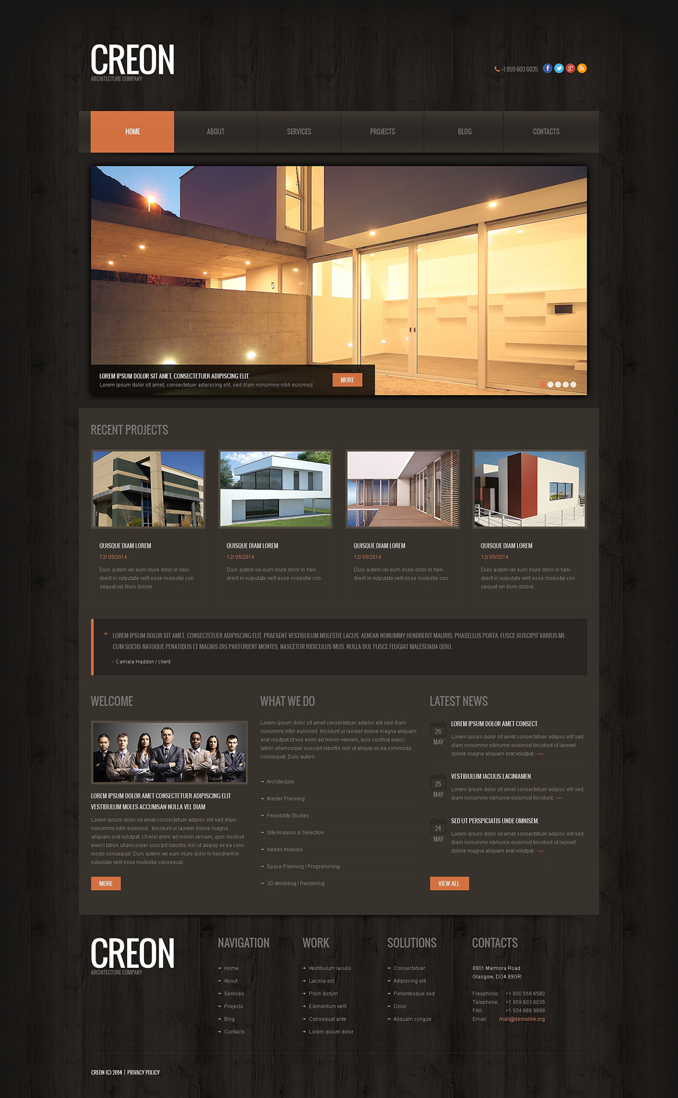 Адаптивный шаблон сайта на тему строительные компании #48928