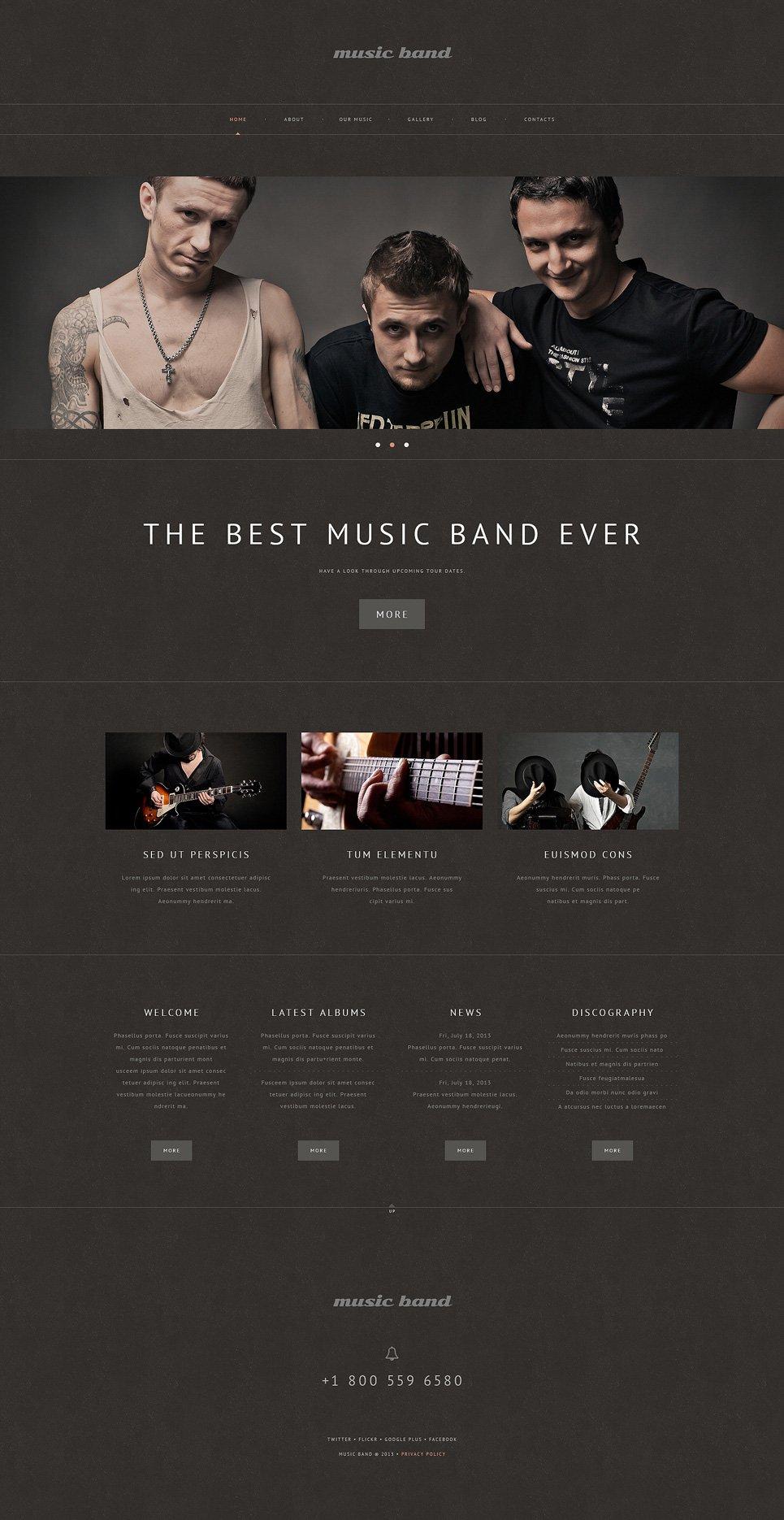 Адаптивный шаблон сайта на тему музыкальная группа #48980
