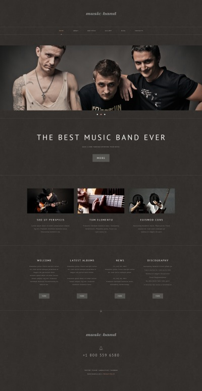 Адаптивный WordPress шаблон №48980 на тему музыкальная группа