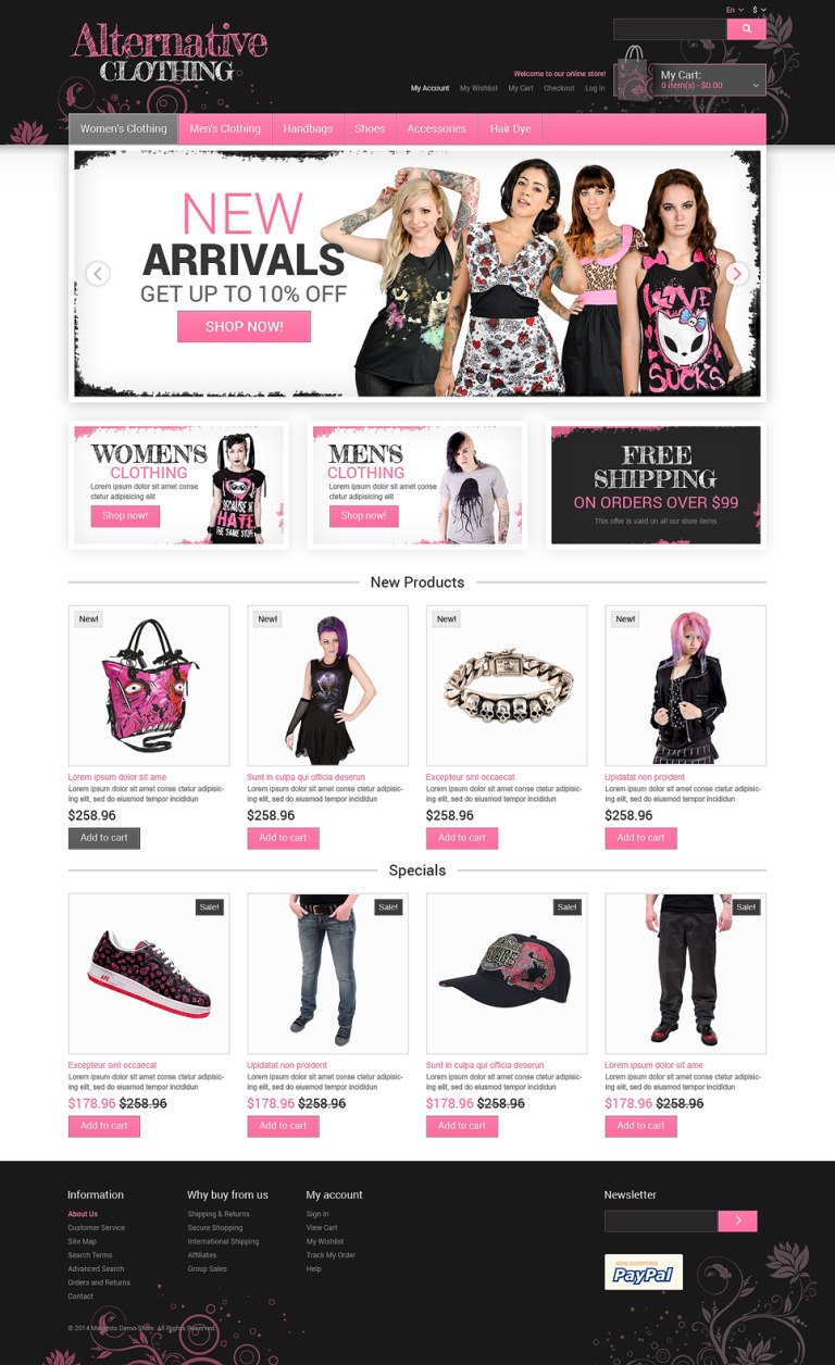 Alternative Clothing Store Magento Theme New Screenshots BIG