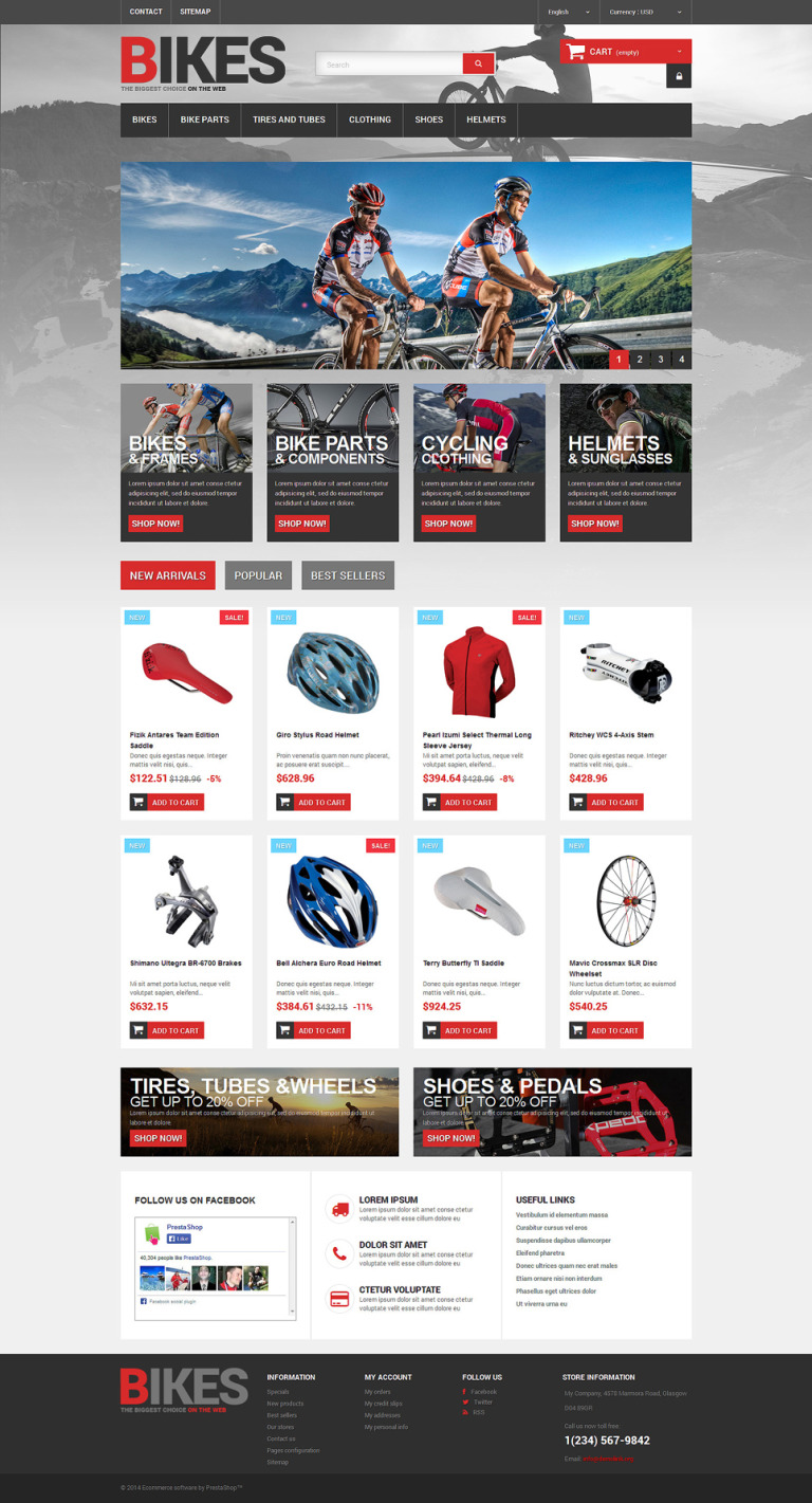 Bikes Store PrestaShop Theme New Screenshots BIG