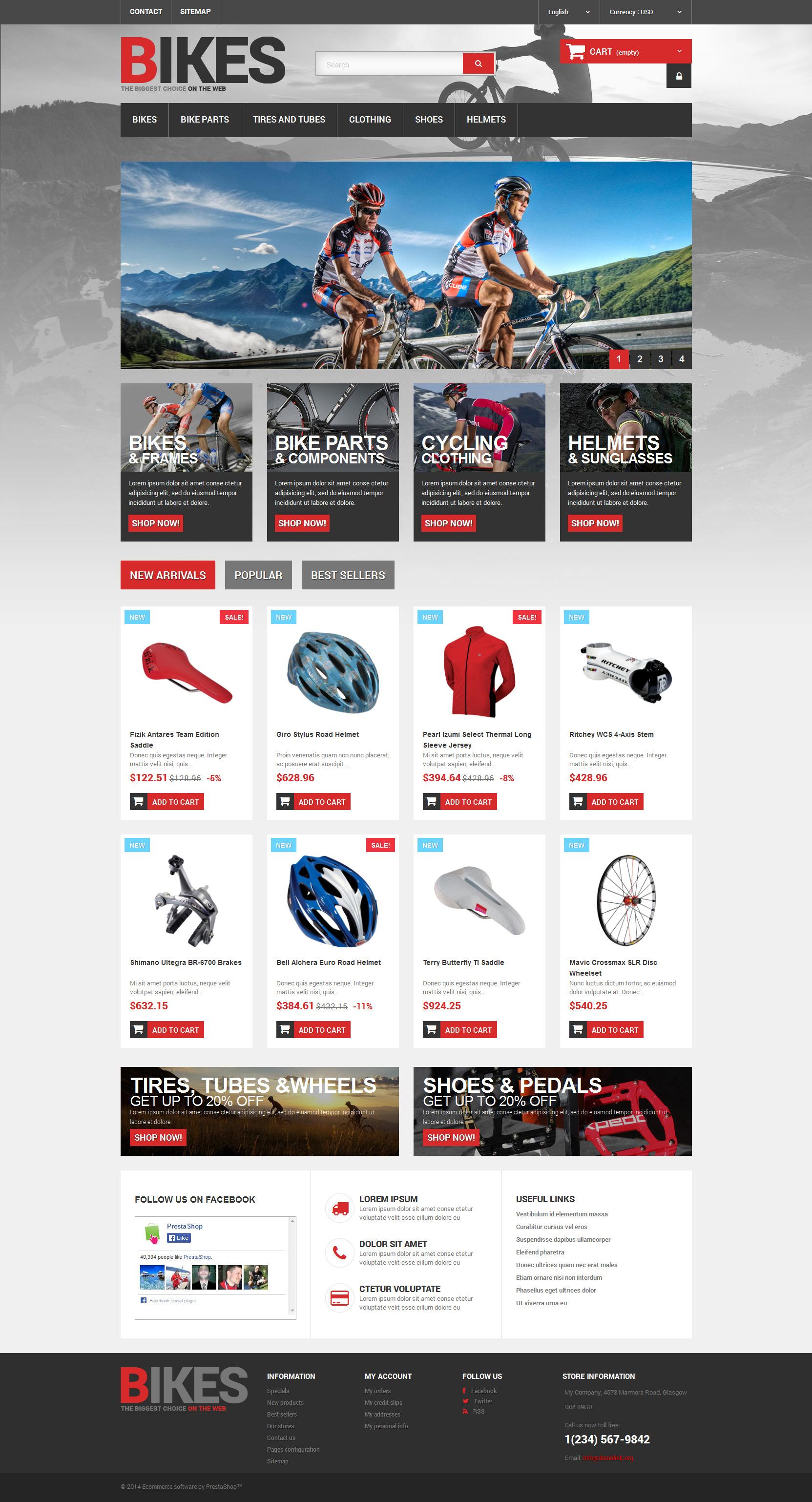 """Bikes Store"" 响应式PrestaShop模板 #48950 - 截图"