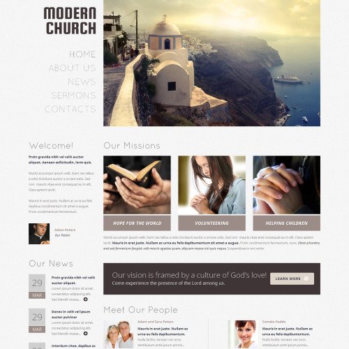 Modern Church - WordPress Template based on Bootstrap