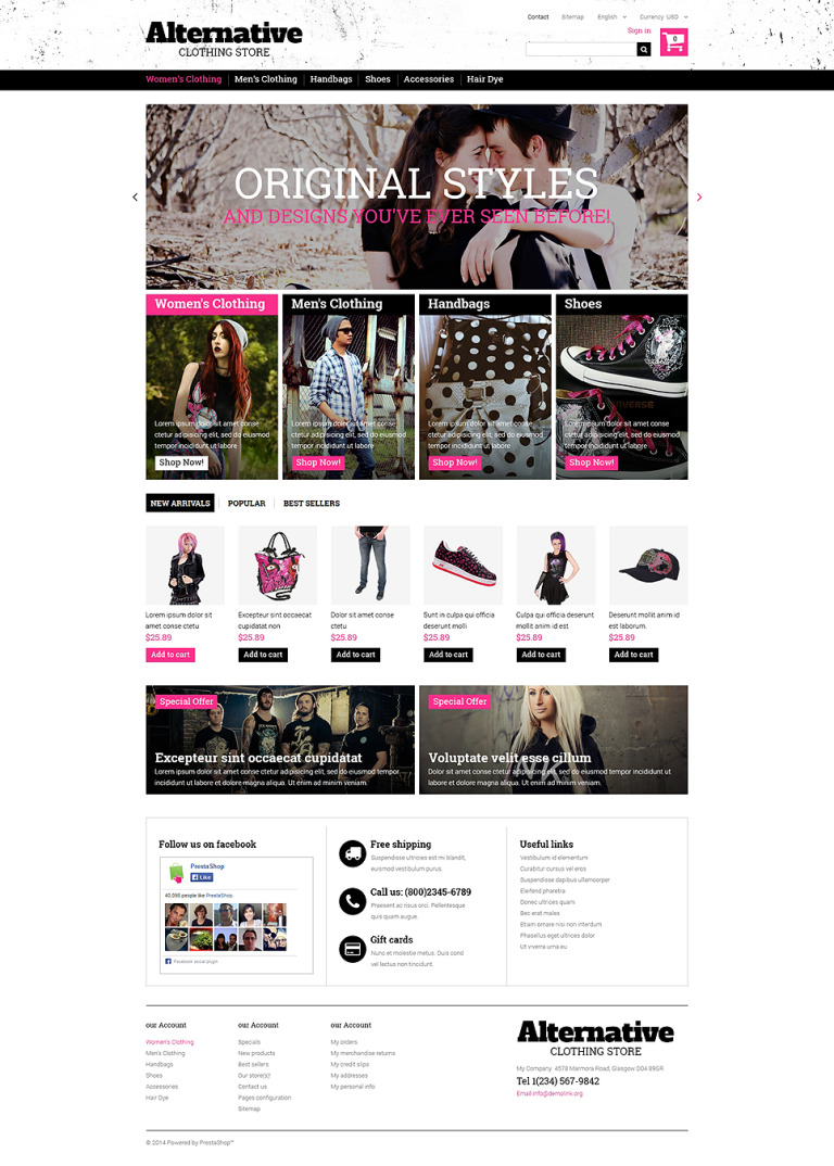 Clothes that Rock PrestaShop Theme New Screenshots BIG