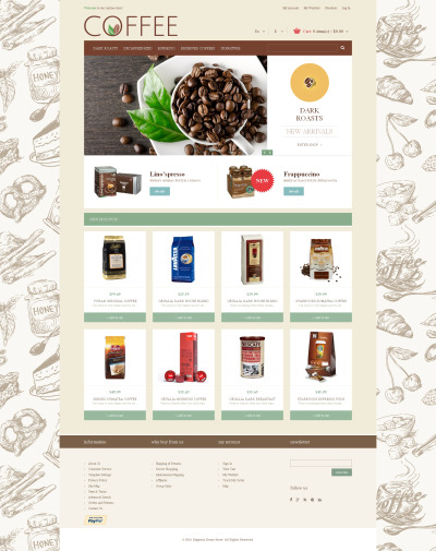 Coffee Shop Responsive Magento шаблон