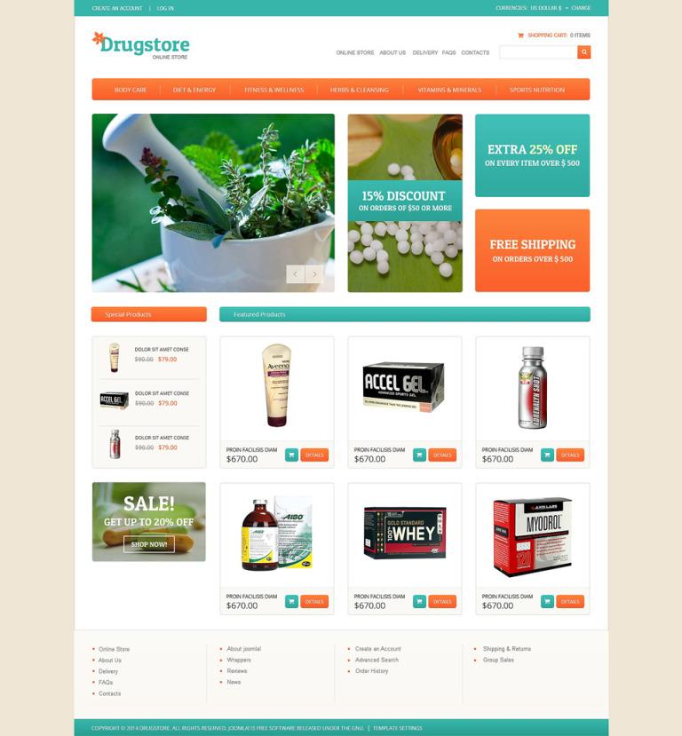 Drug Store VirtueMart Template New Screenshots BIG