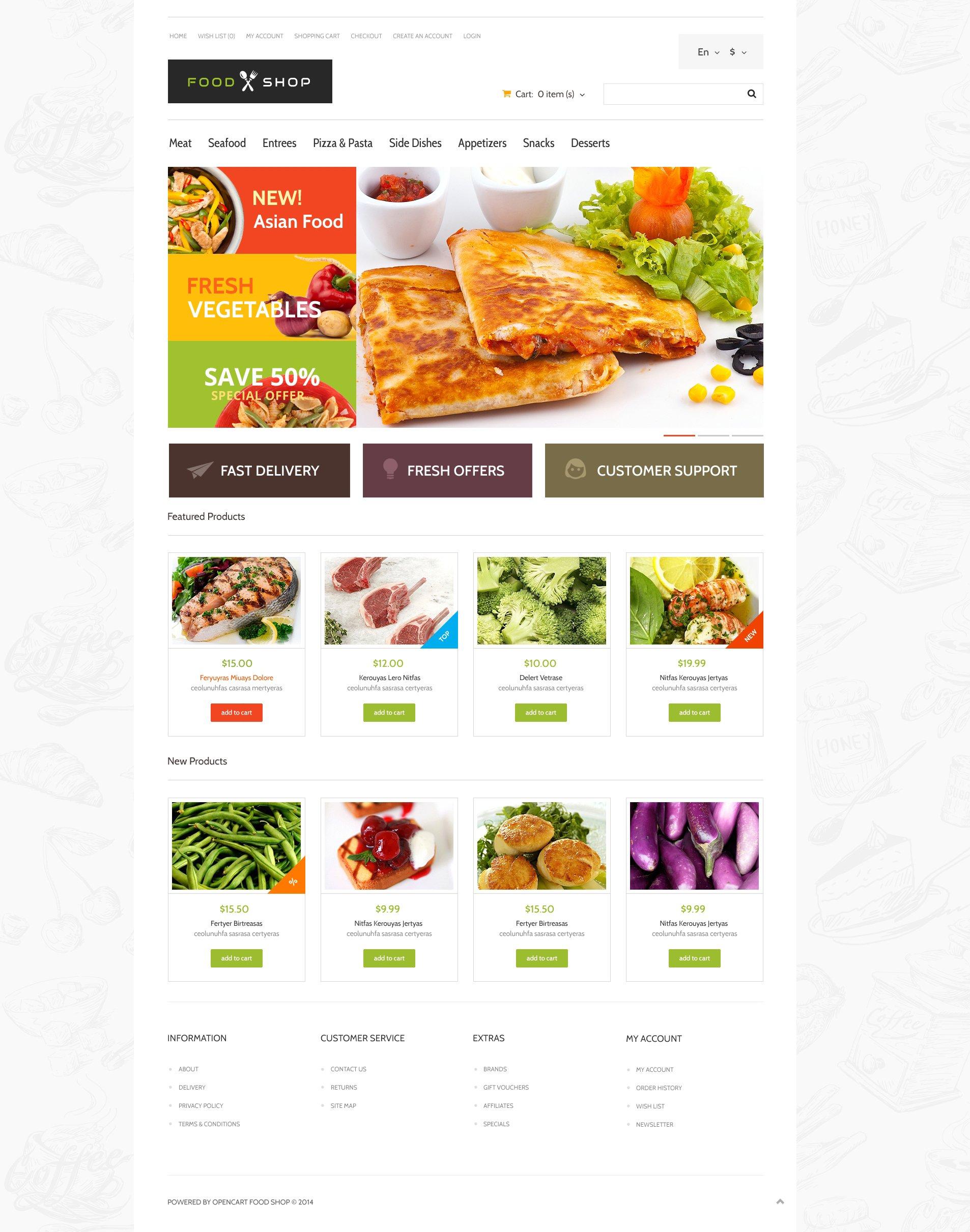 Food Store Responsive Opencart Template 48913