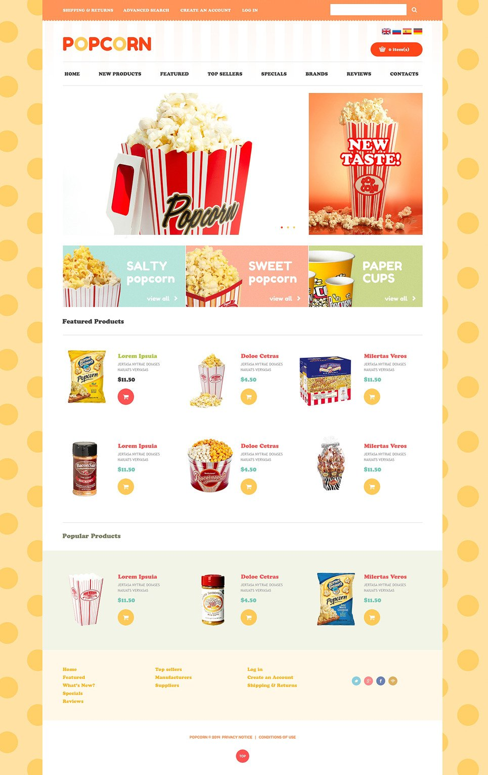 Ideal Popcorn OsCommerce Template New Screenshots BIG