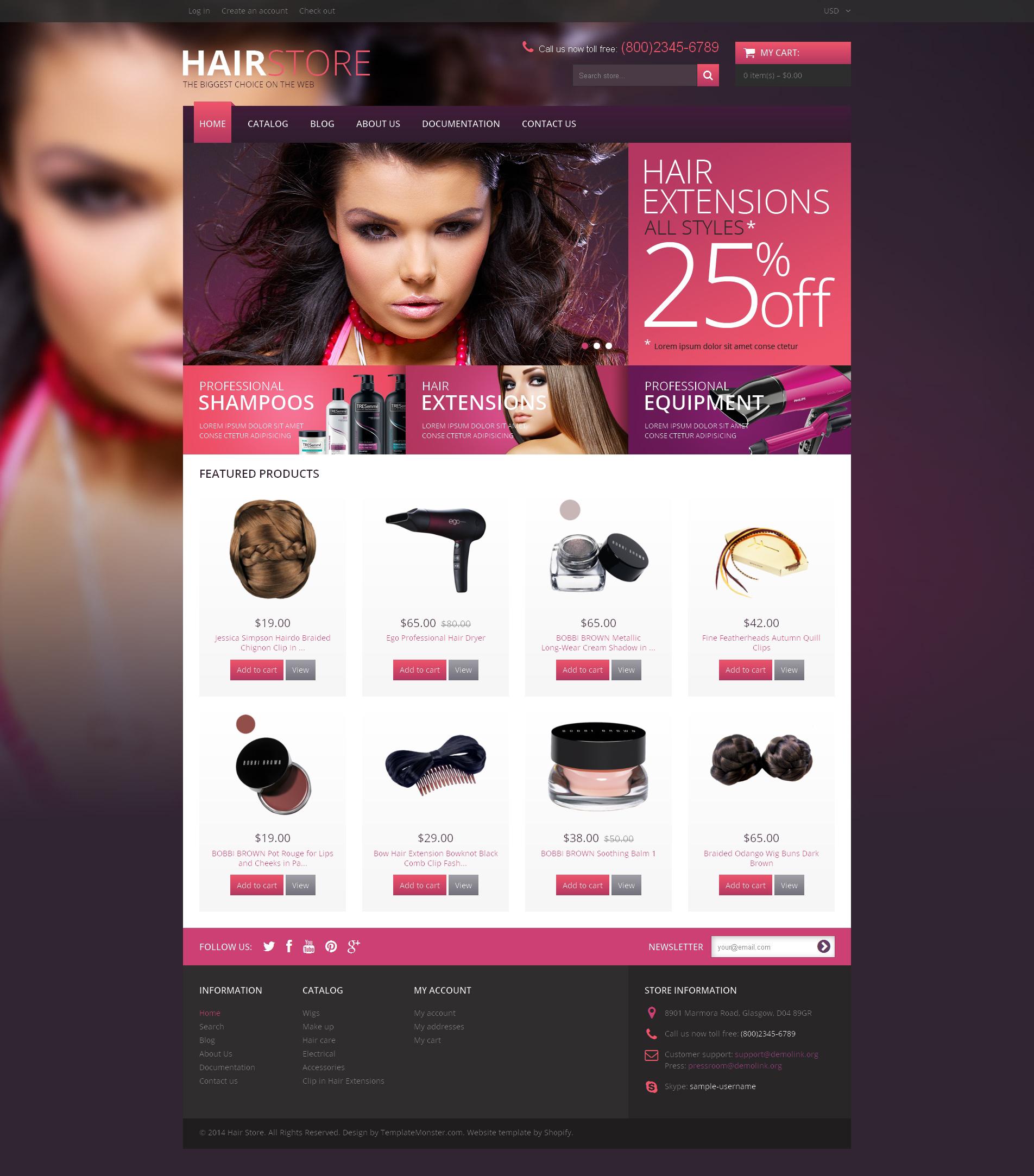 Modello Shopify Responsive #48932 per Un Sito di Parrucchiere