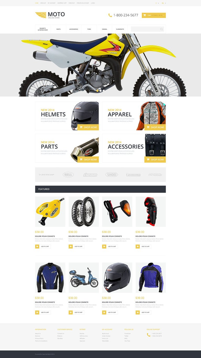 Motorcycle Store OpenCart Template New Screenshots BIG