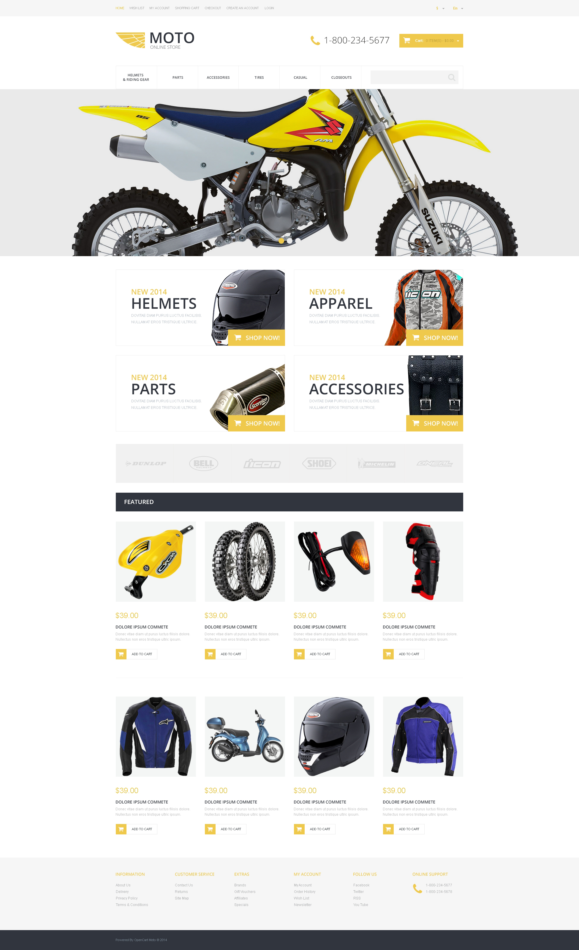 motorcycle store opencart template 48918