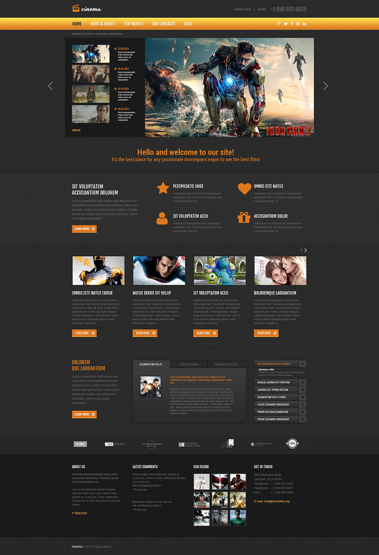 Movie Responsive Joomla Template New Screenshots BIG
