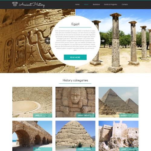 Ancient History - Website Template based on Bootstrap