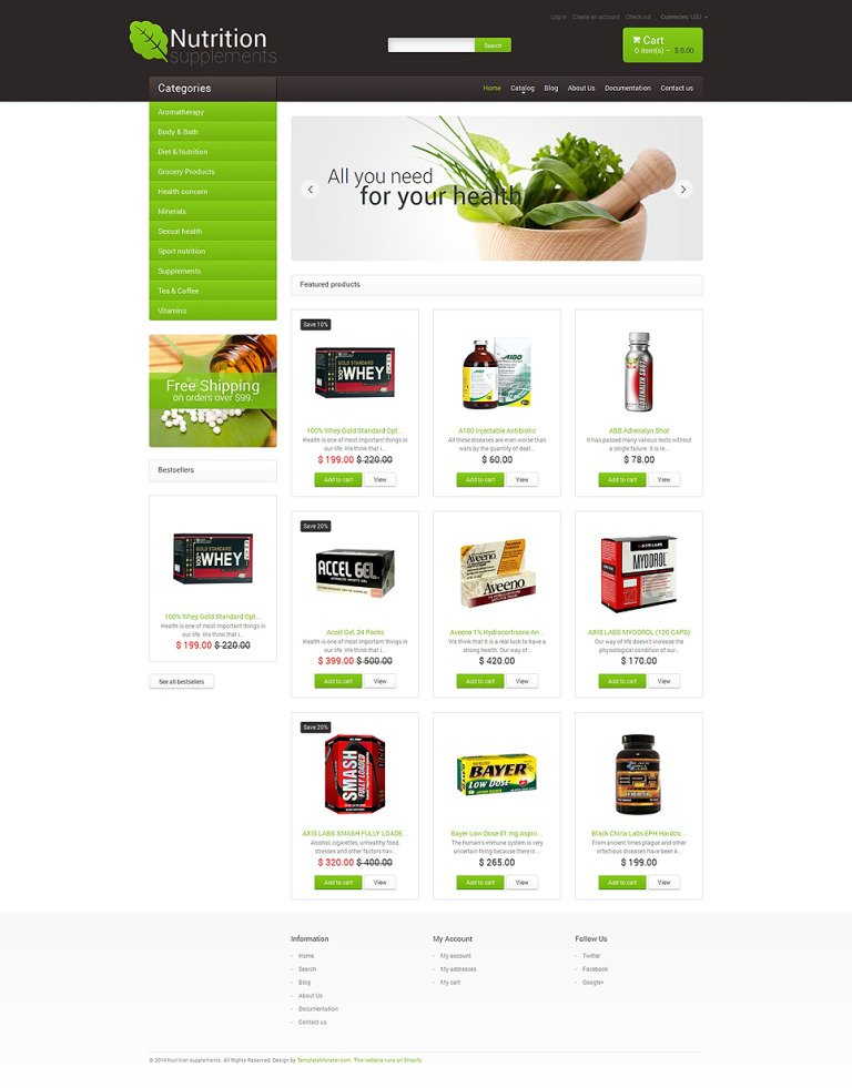 Nutrition Store Responsive Shopify Theme New Screenshots BIG