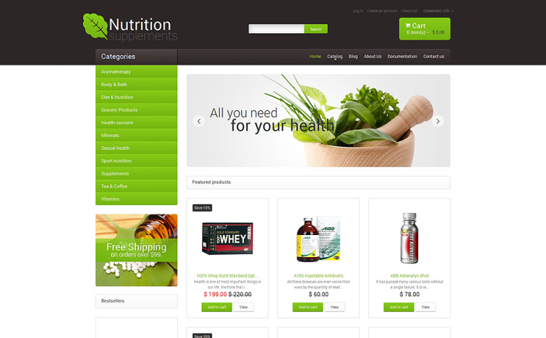 Nutrition Store Responsive Shopify Theme - Shopify page templates