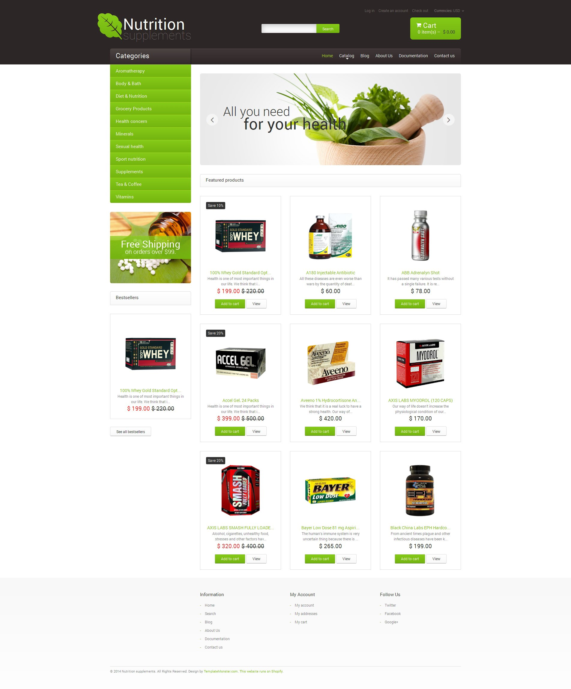 Nutrition Store Responsive Shopify Theme #48997