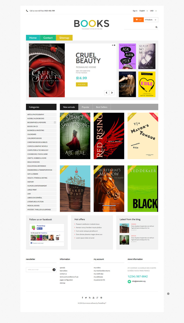 Online Bookstall PrestaShop Theme New Screenshots BIG
