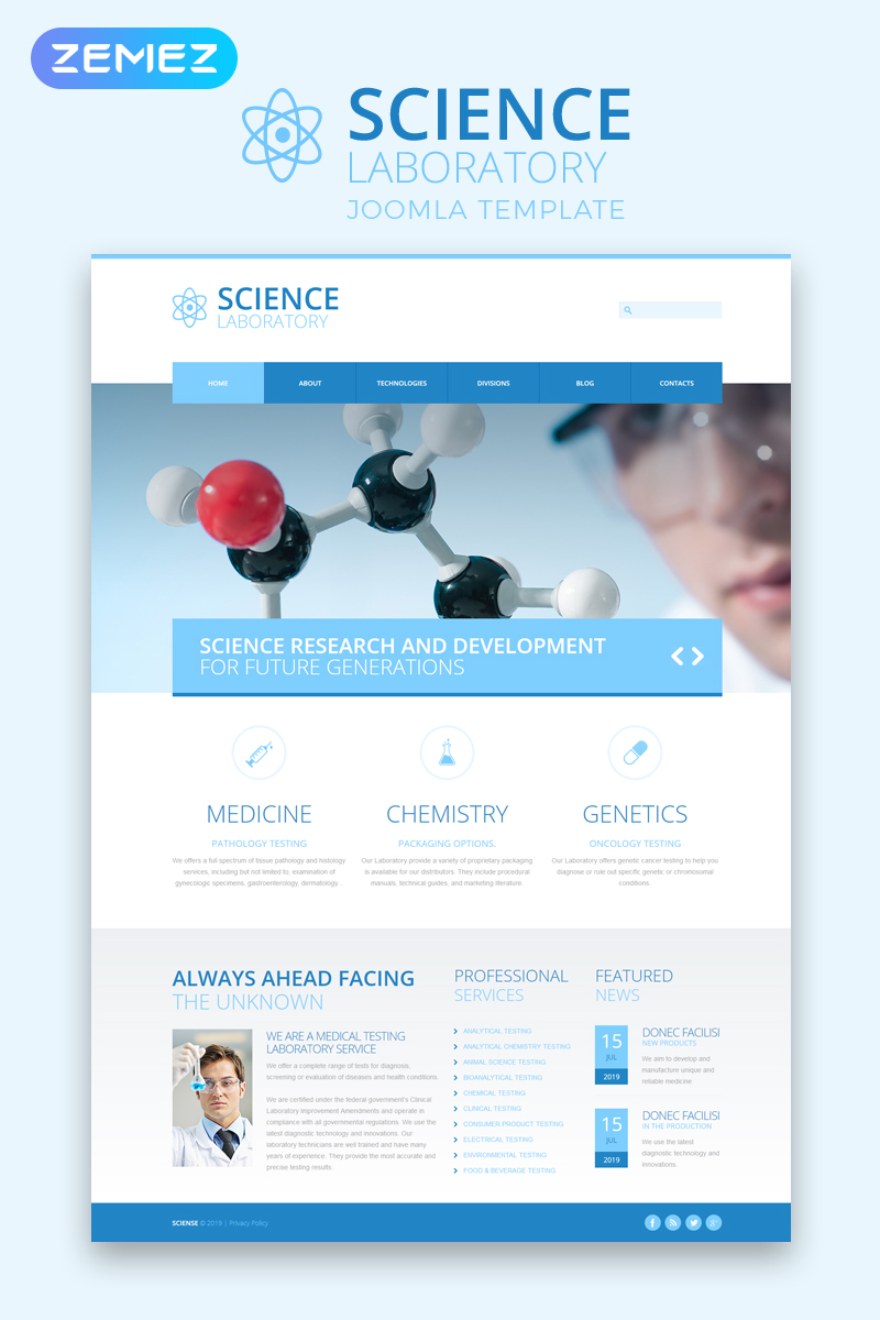 "Plantilla Joomla ""Science Laboratory - Science Laboratory Responsive Clean"" #48964"