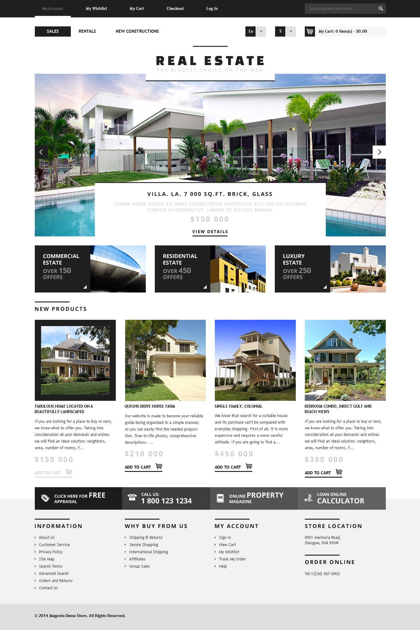Real Estate Agency Responsive Magento Theme - screenshot