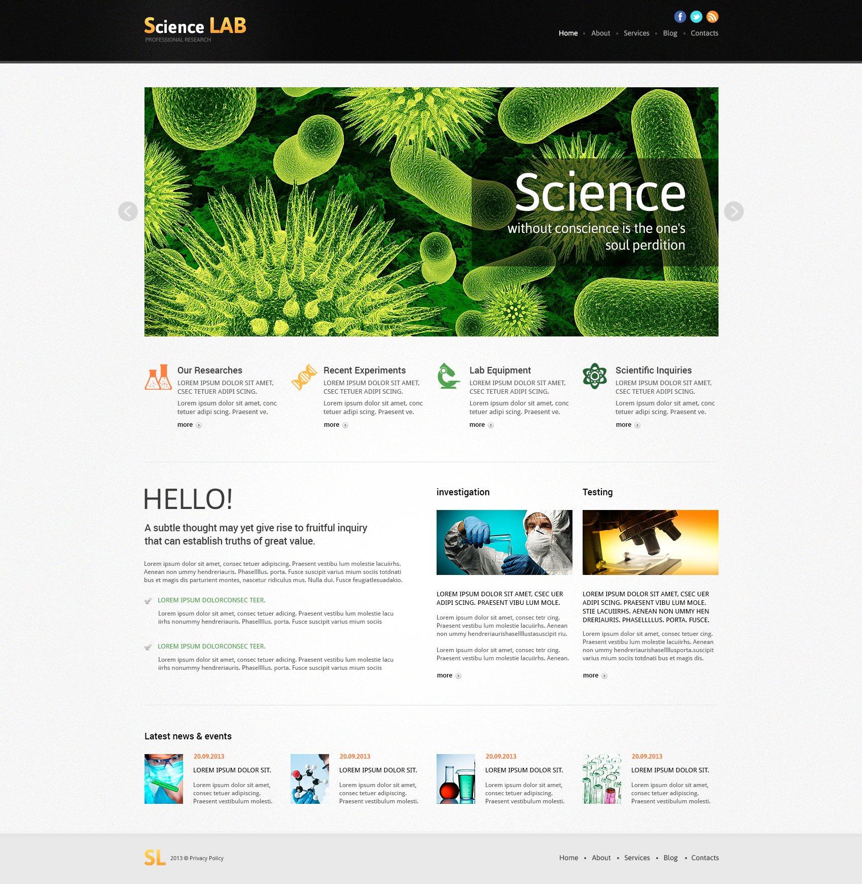 Responsive Joomla Template over Sciencelaboratoria №48974 - screenshot