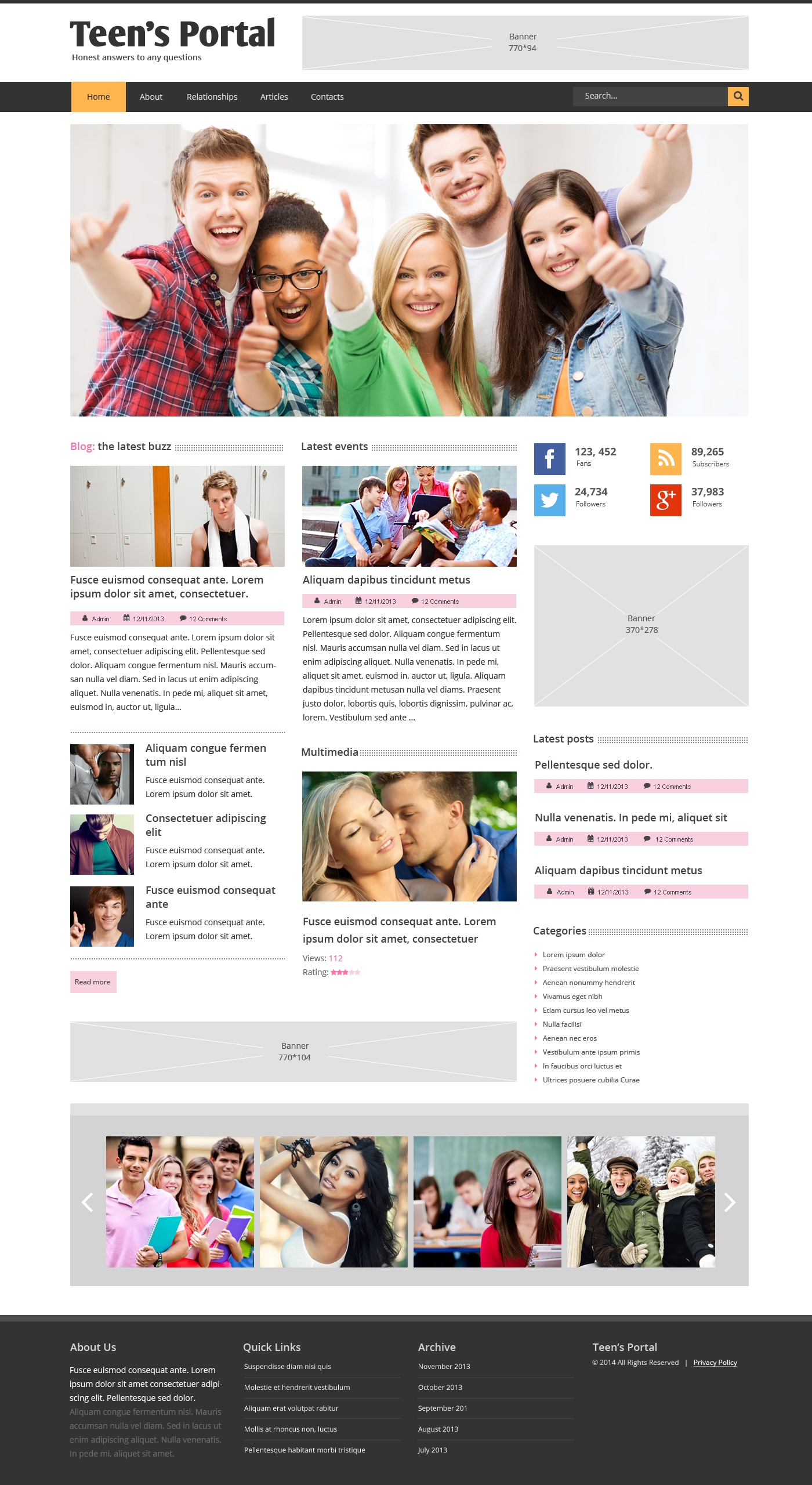 Responsive Website template over Tiener club №48910