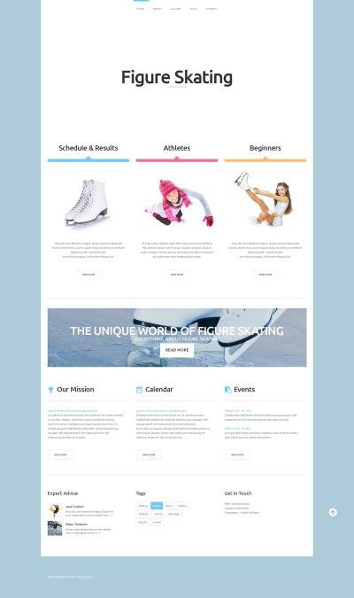 Responsive Website Vorlage für Schlittschuhlaufen