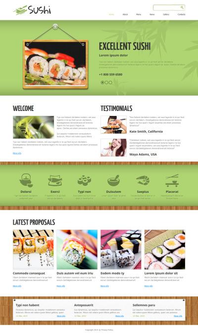 Responsywny szablon Joomla #48958 na temat: Sushi Bar