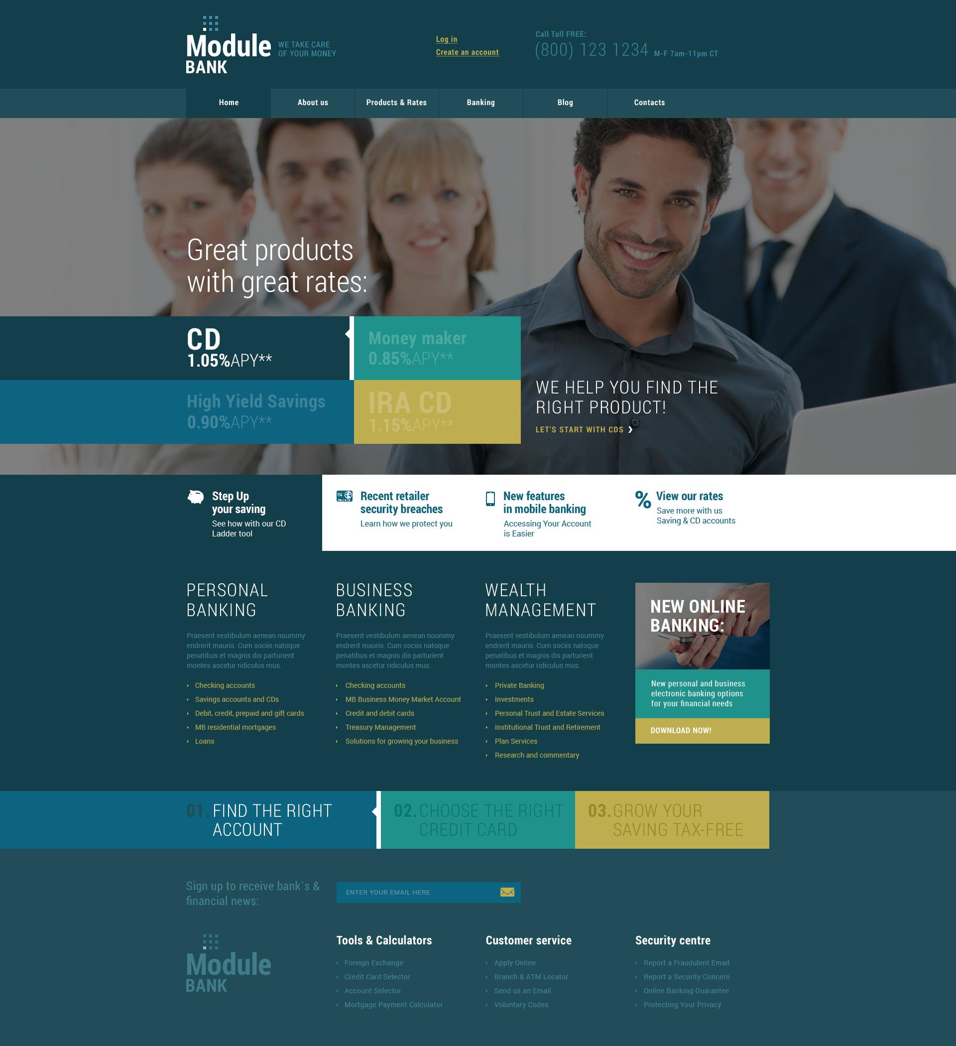 Reszponzív Bankok témakörű WordPress sablon 48925 - képernyőkép