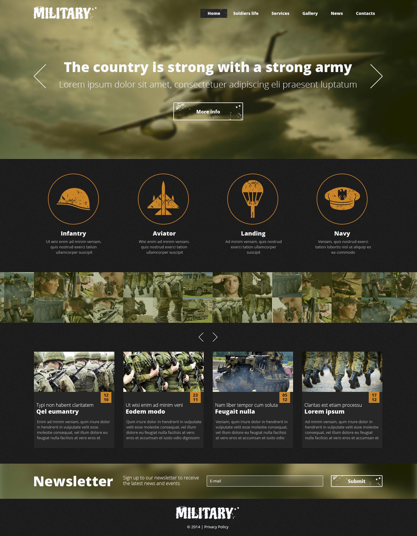 Reszponzív Hadsereg témakörű Weboldal sablon 48911