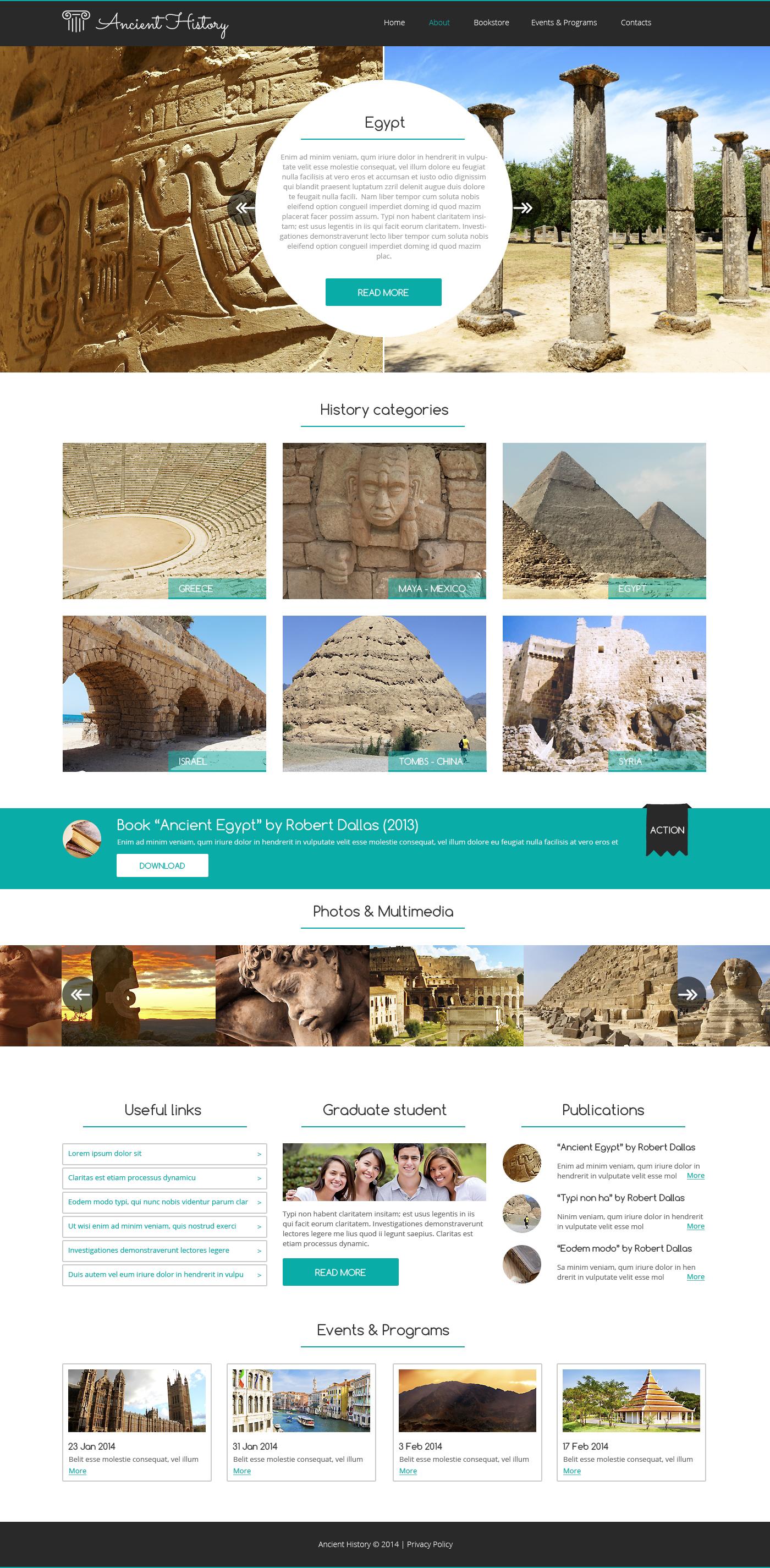 Reszponzív Múzeum Weboldal sablon 48992 - képernyőkép