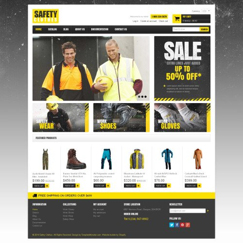 Safety Clothes - Shopify Template based on Bootstrap