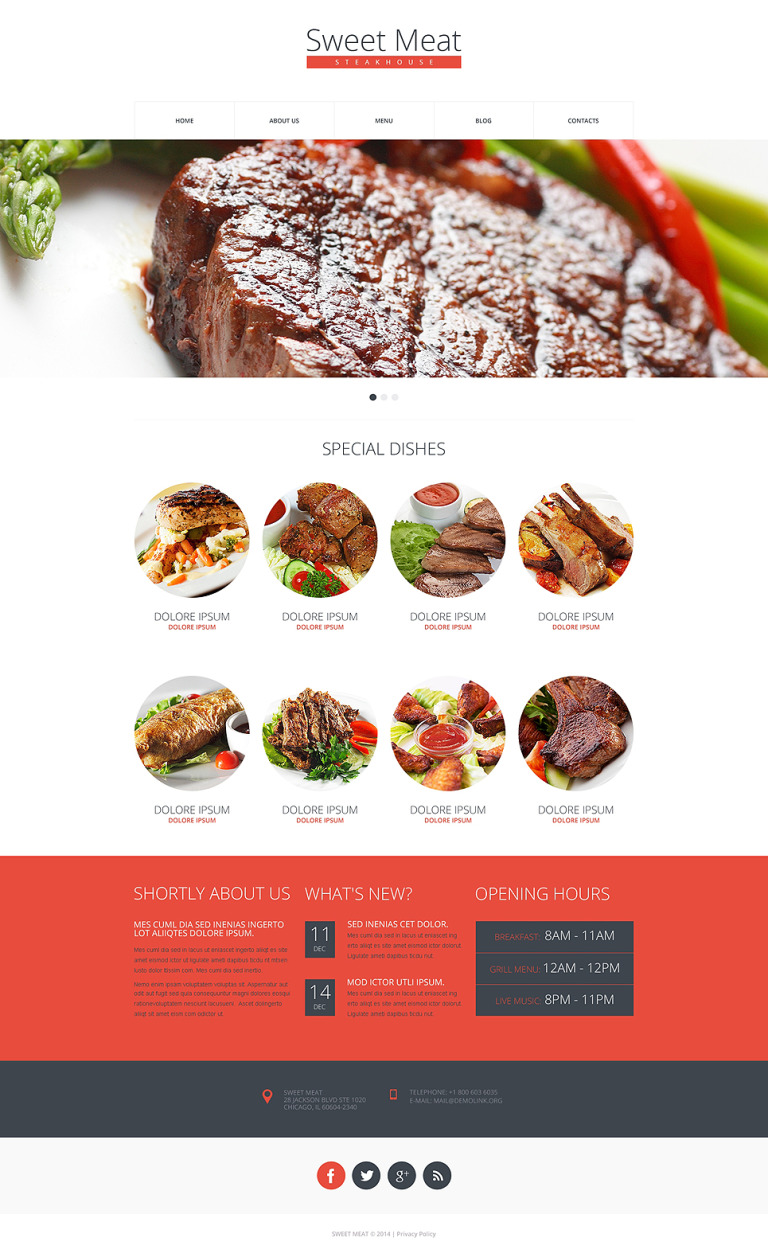 Steakhouse Drupal Template New Screenshots BIG