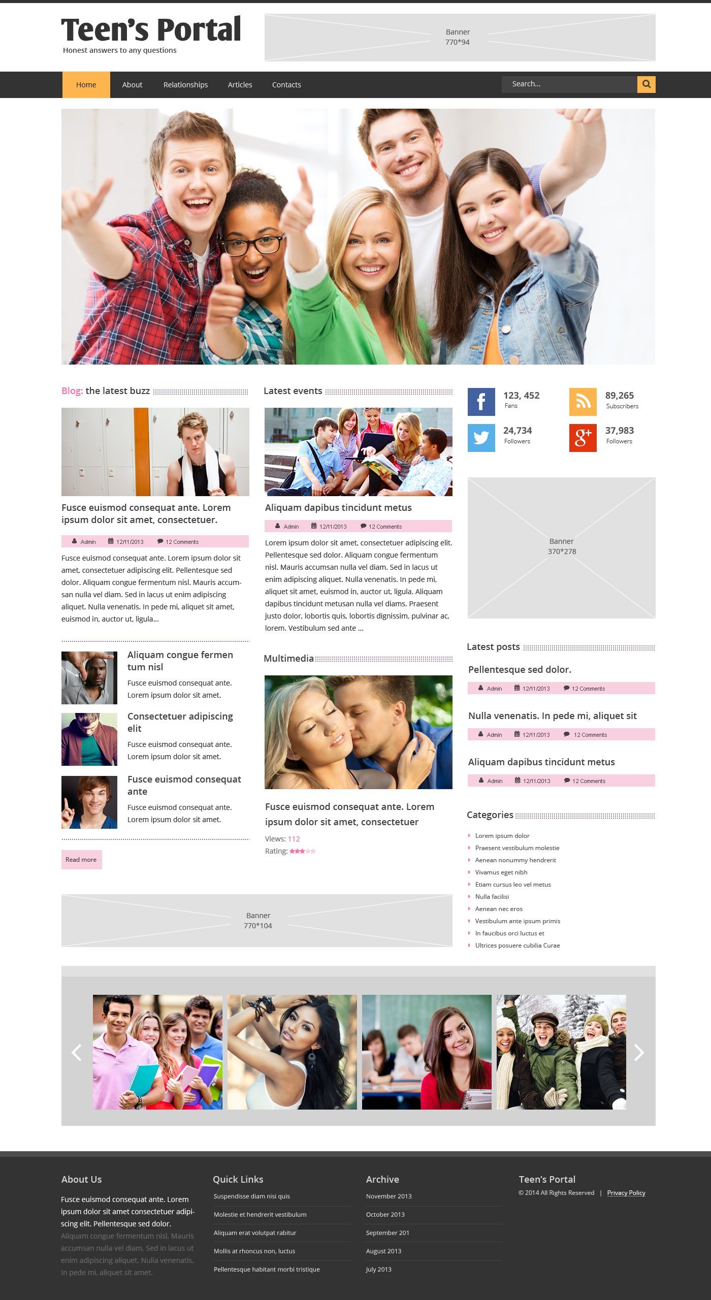 Teen Club Responsive Website Template - screenshot