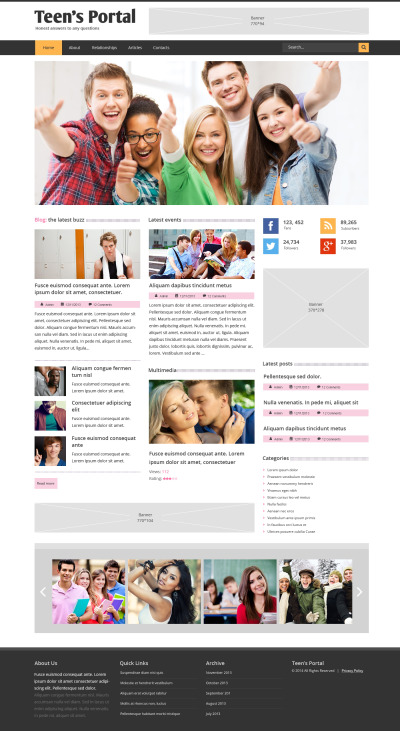 Teen Club Responsive Website Template #48910