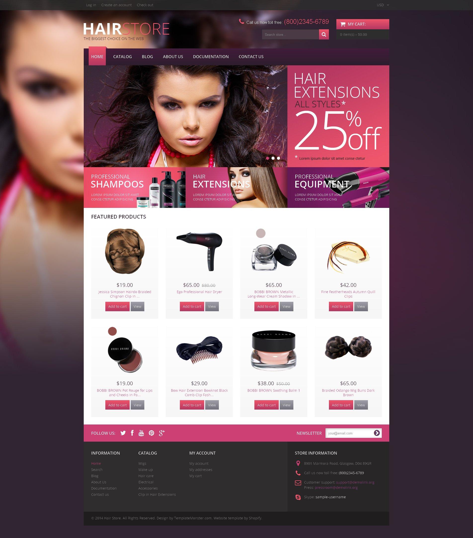 Tema de Shopify Flexível para Sites de Salão de Beleza №48932