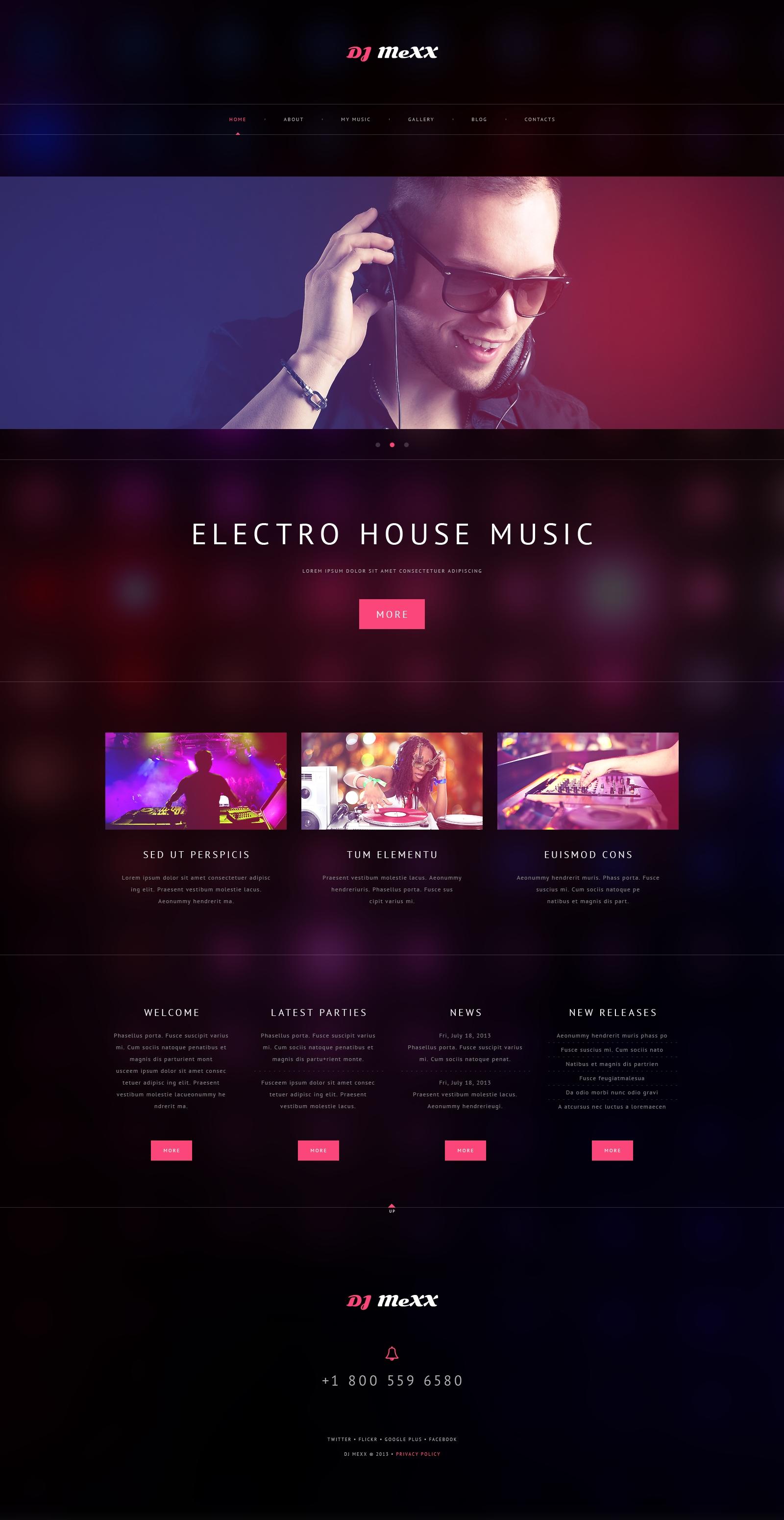 Tema De WordPress Responsive para Sitio de Música #48979 - captura de pantalla