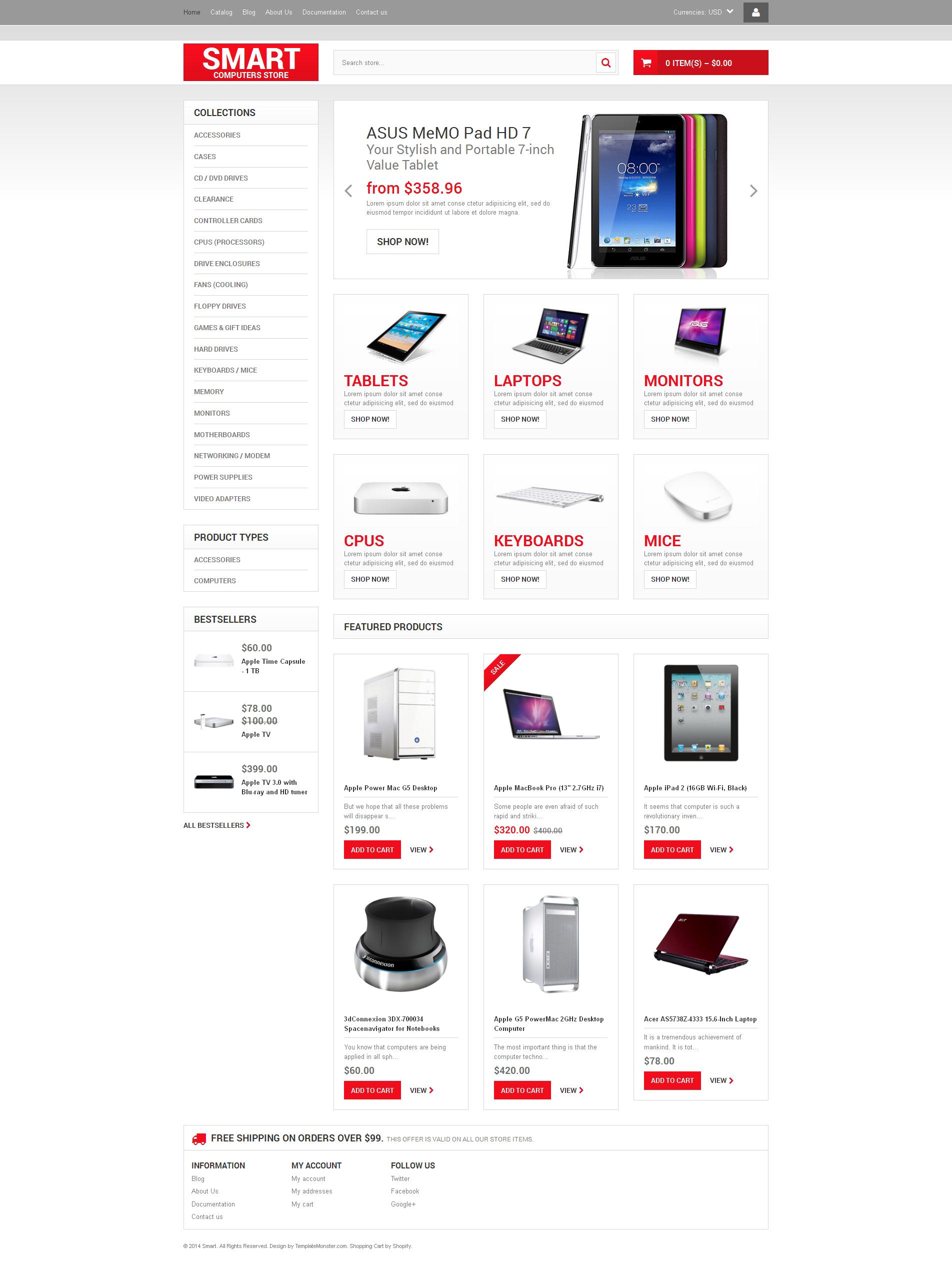 Tema Shopify Responsive para Sitio de Tienda de Ordenadores #48982