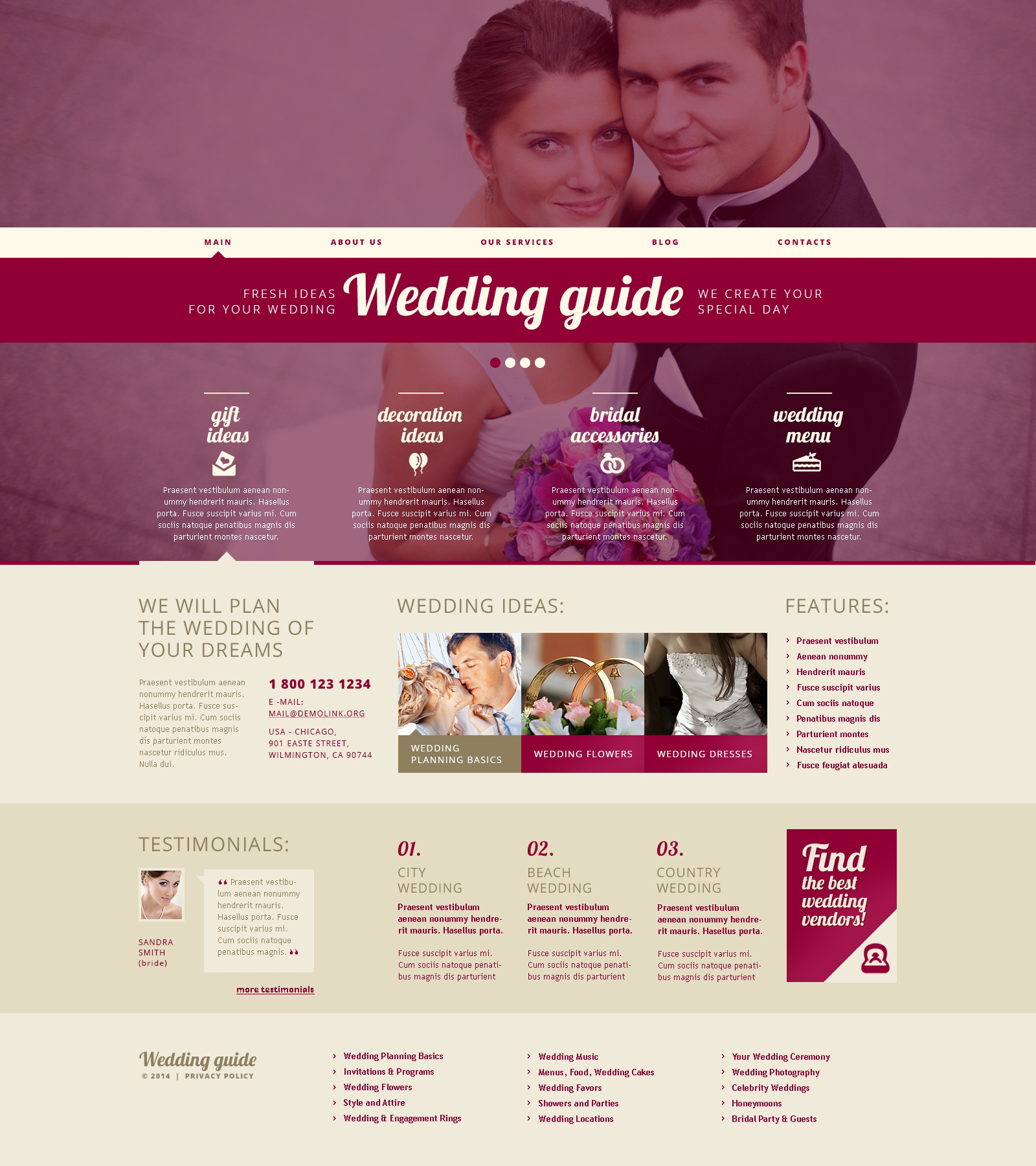Wedding Planner Responsive WordPress Theme - screenshot