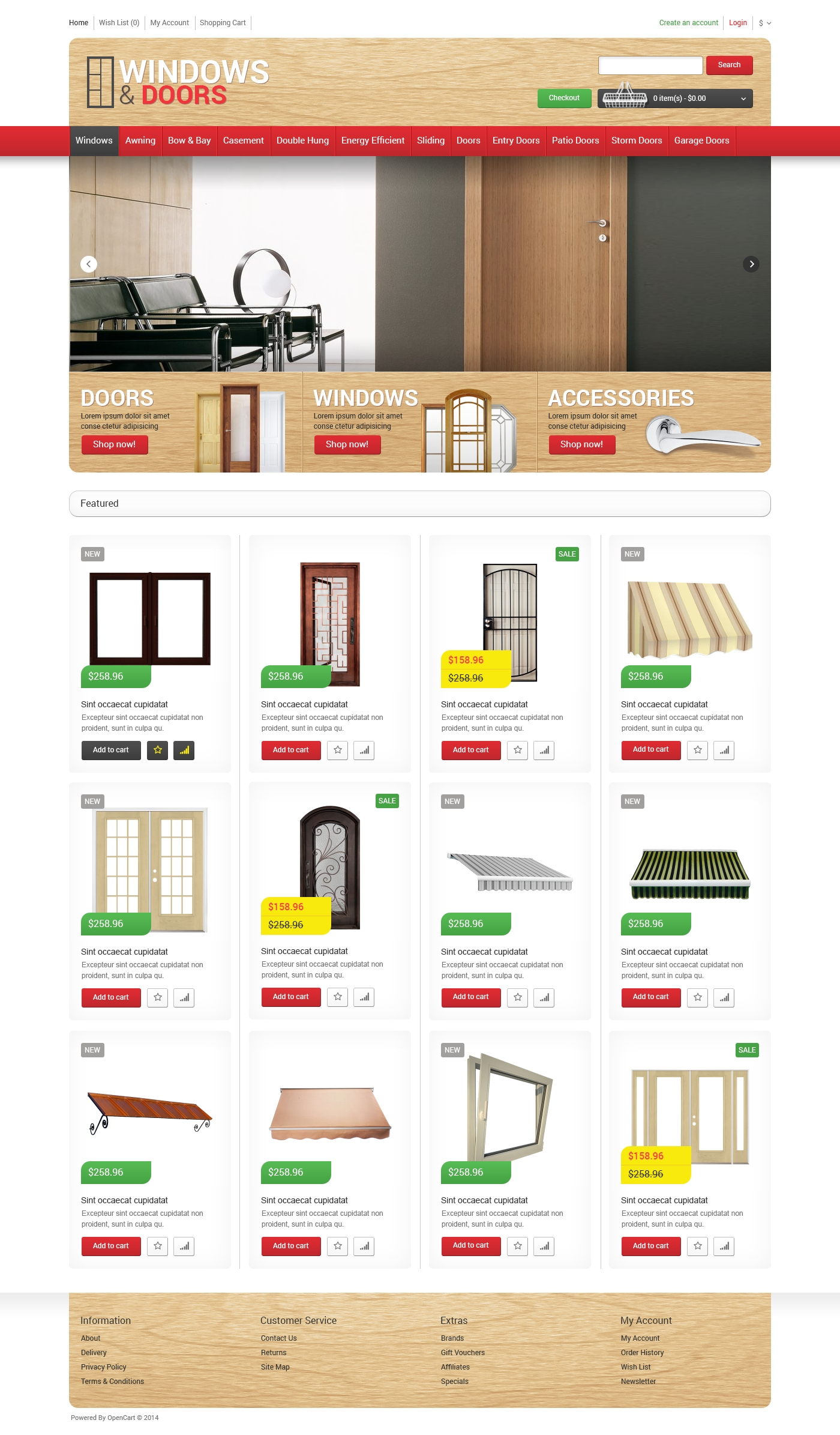 Open Store Doors windows doors store opencart template #48919