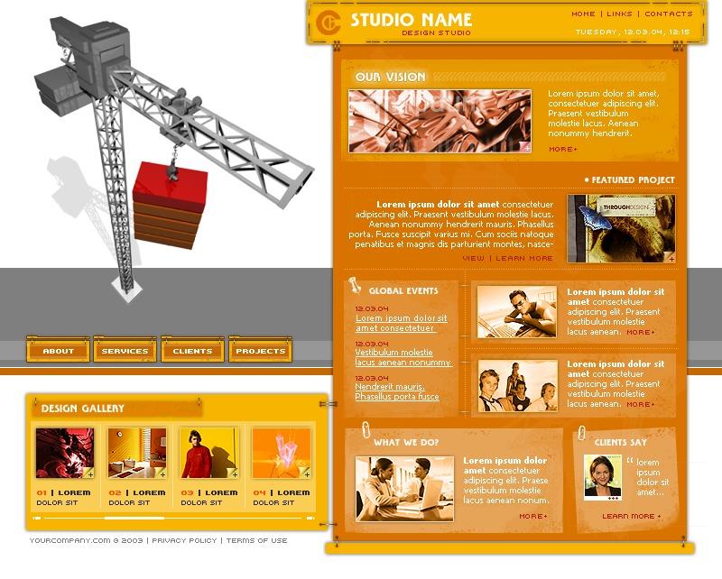 Tema flash 4922 per un sito di design studio for Sito di design