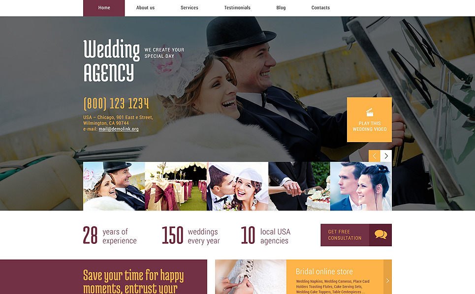 Responzivní WordPress motiv na téma Svatební koordinátor New Screenshots BIG
