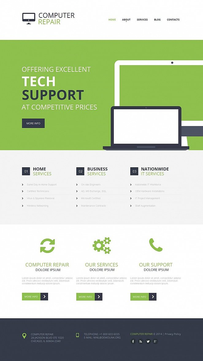 Computer Repair Website Template with CMS - image