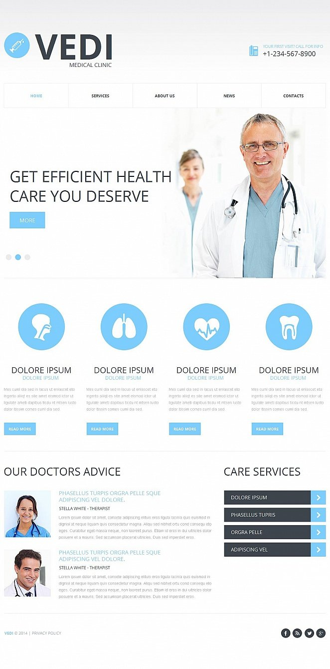 Flat Website Design for Medical Clinic - image