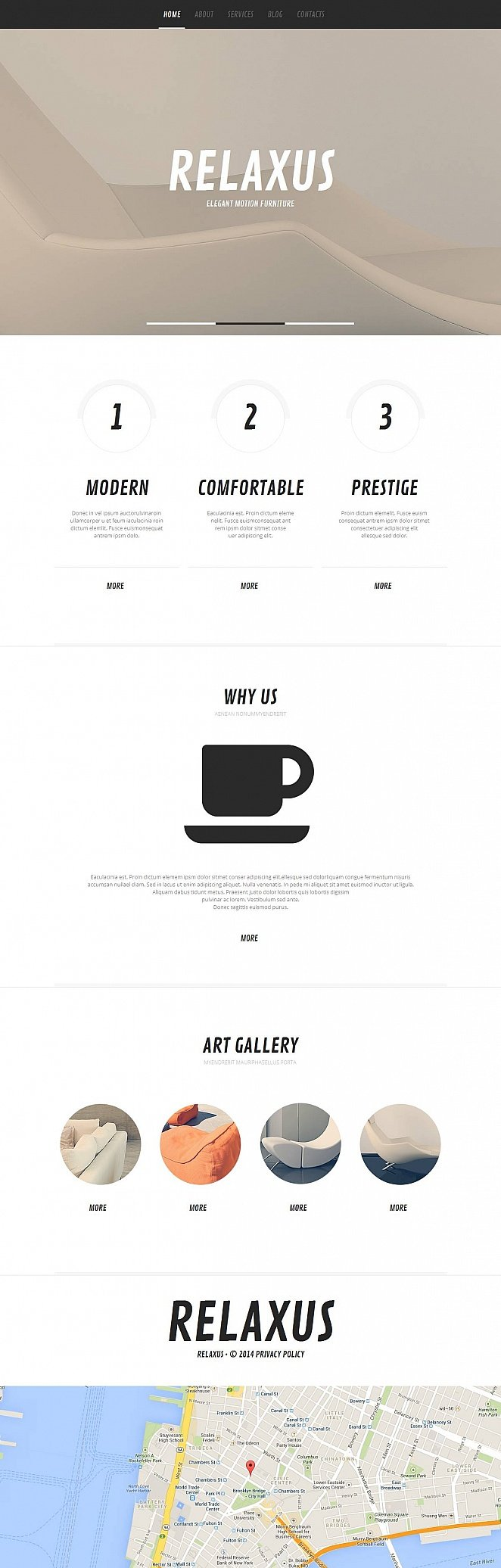Reclining Furniture Website Template with Flat Design - image