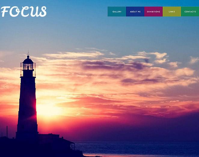 Portfolio Website Template with Varicolored Navigation Menu - image