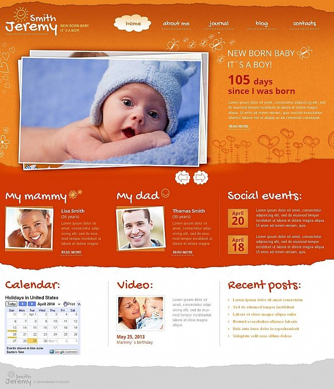 Newborn Webpage Template with Orange Design - image