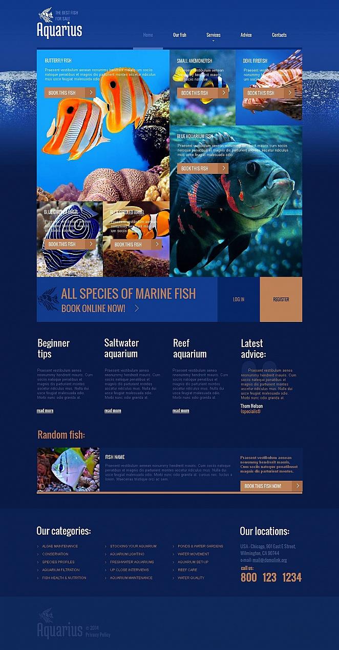 Aquarium Fish Website Design in Blue Colors - image