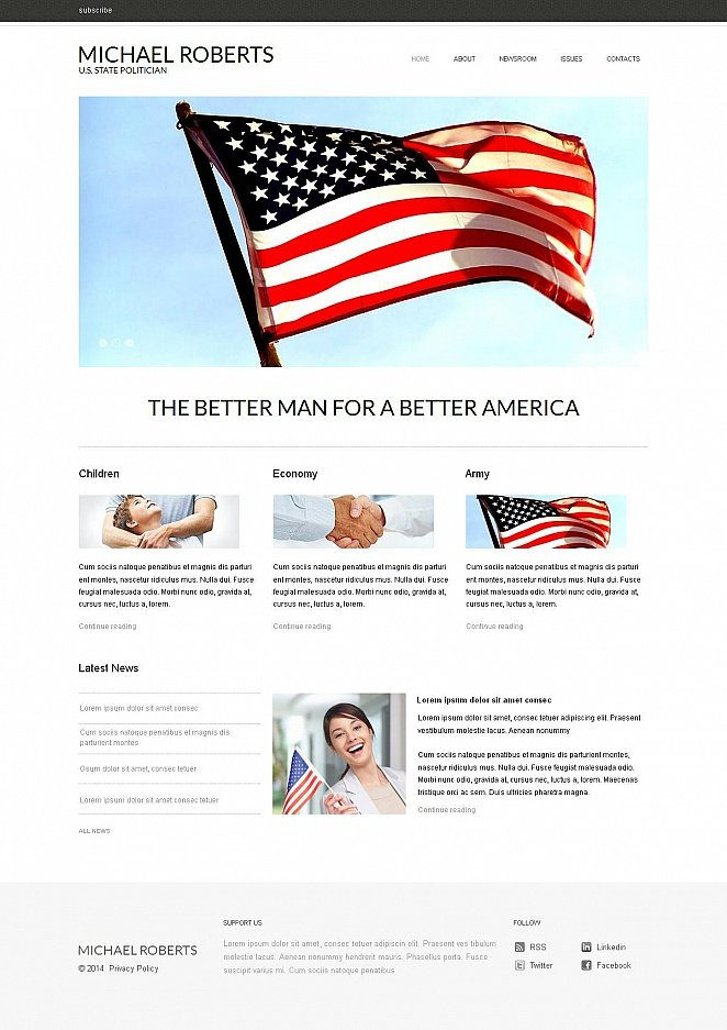 Clean Style Political Website Template - image